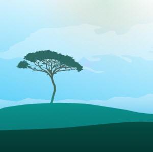 Tree in tranquil field