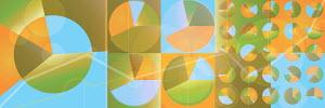 Multicolored pie charts