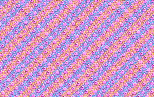 Repeat pattern of pink skulls