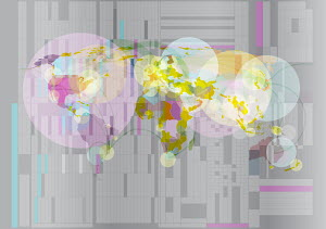 Abstract pattern of global connections over world map