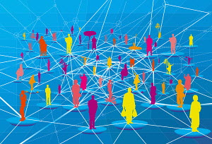 Lots of people connected in network grid