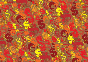 Abstract backgrounds pattern of lots of dollar signs