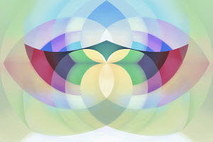 Abstract symmetrical crisscross pattern of multicolored curved stripes