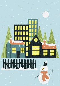 Snow falling over town and snowman