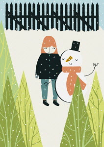 Girl and snowman standing together in snow