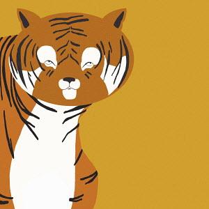Portrait of tiger on orange background