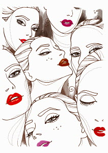 Montage of women�s faces wearing lipstick