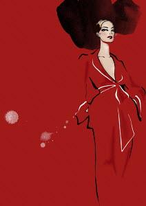Portrait of elegant woman in red dress