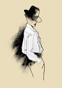 Portrait of elegant woman in fedora