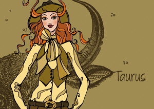 Portrait of Taurus woman zodiac sign