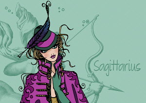 Portrait of Sagittarius woman zodiac sign