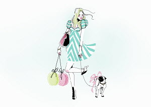 Glamorous young woman carrying shopping bags walking dog