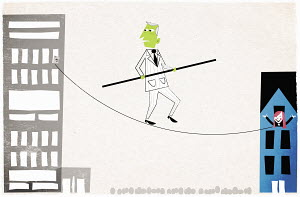 Man with green face walking on tightrope between office and house