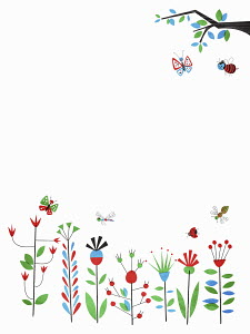 Bees, butterflies and dragonflies flying above flowers