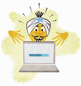 Genie in turban gesturing above laptop with status bar