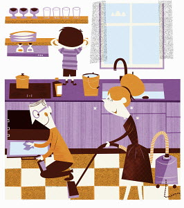 Happy family working together in kitchen to spring clean home