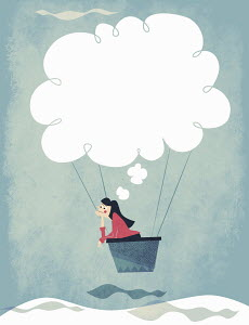 Woman daydreaming with thought bubble hot air balloon