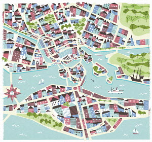 Illustrated map of Stockholm, Sweden