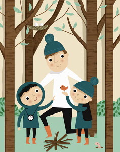 Father and children enjoying nature in woods