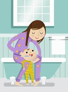 Mother helping baby brush teeth in bathroom