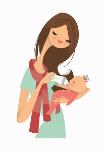 Mother feeding baby girl with bottle