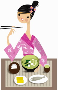 Woman in traditional clothing enjoying Japanese food