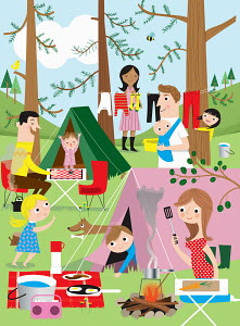 Families having fun camping in woods