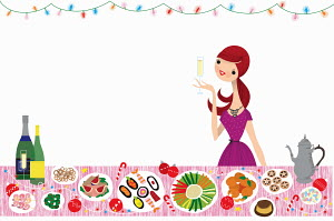 Happy woman drinking champagne at healthy Christmas buffet table