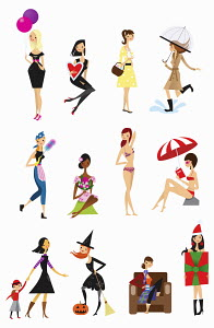 Twelve poses of young woman each month throughout the calendar year
