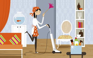 Happy woman doing housework holding feather duster and vacuuming living room