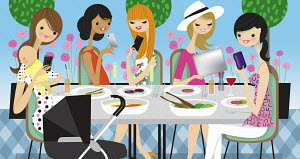 Glamorous women friends using cell phones and mobile technology ignoring lunch together
