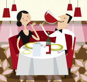 Contrast between man drinking from enormous wine glass and woman drinking from small wine glass at restaurant meal