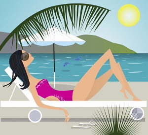 Serene woman sunbathing on lounge chair at beach