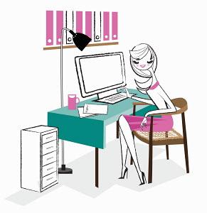 Office worker working on desktop computer