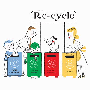 Family using paper, clothes, plastic and glass recycling bins