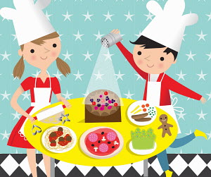 Children cooking and baking favourite food