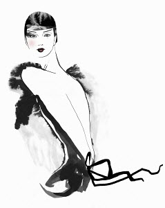 Portrait of glamorous woman wearing backless dress