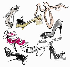 Variety of women�s shoes