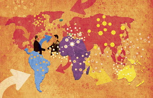 Arrows, networks and businessmen shaking hands on global map
