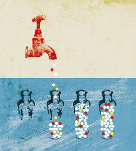 Pills dripping from faucet spout into glass bottles
