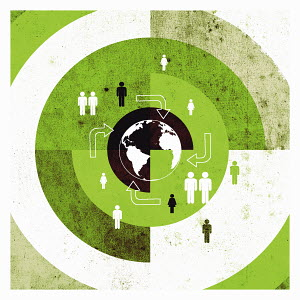 People and arrows on target around globe