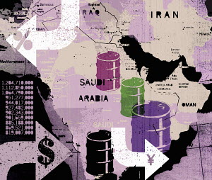Oil barrels on map of Middle East
