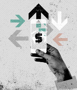 Hand using smart phone accessing global finance