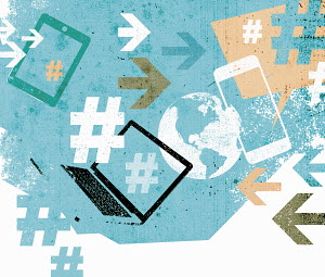 Social media collage of mobile technology devices, hash tags, globe and arrows