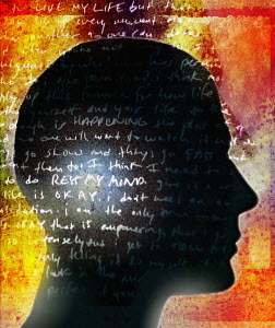 Handwritten text over silhouette profile of man's head - Handwritten text over silhouette profile of man's head