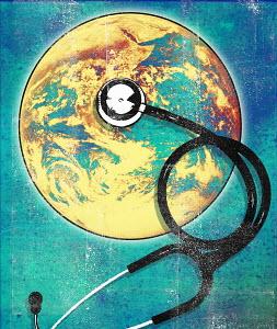 Stethoscope on planet earth globe