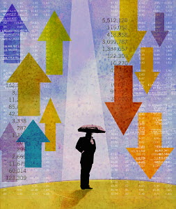 Businessman holding umbrella standing between rising and falling stock prices - Businessman holding umbrella standing between rising and falling stock prices