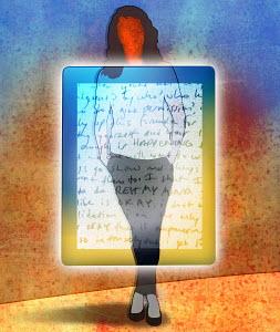 Woman standing behind transparent digital tablet with handwritten text - Woman standing behind transparent digital tablet with handwritten text