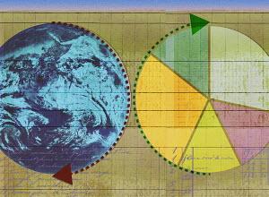 Arrows around globe and pie chart
