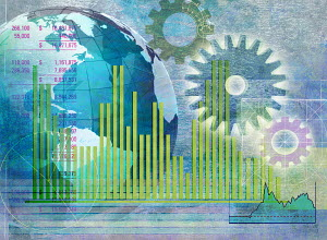 Globe, cogs, bar graphs and financial figures data